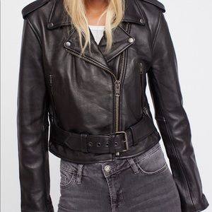 🔥UNDERSTATED LEATHER x FREE PEOPLE Moto Jacket S